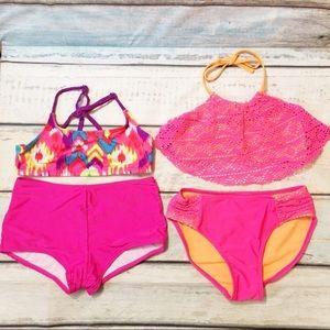 Justice Pink Bathing Suit Bikini Bundle Set of 2